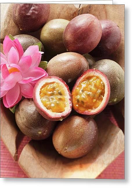 Passion Fruits (purple Granadilla) In Wooden Bowl Greeting Card