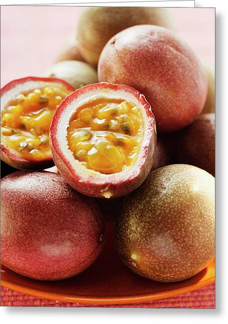Passion Fruits (purple Granadilla), One Halved Greeting Card