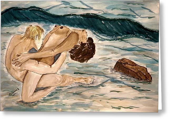 Passion Of Love. Greeting Card by Shlomo Zangilevitch