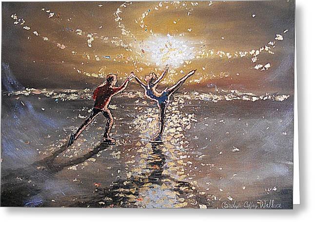 Passion To Perform Ice Skaters Golden Moment Greeting Card by Carolyn Coffey Wallace