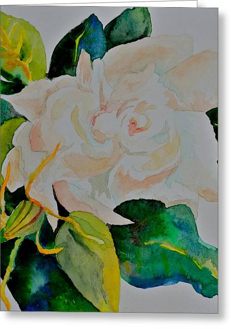 Greeting Card featuring the painting Passionate Gardenia by Beverley Harper Tinsley