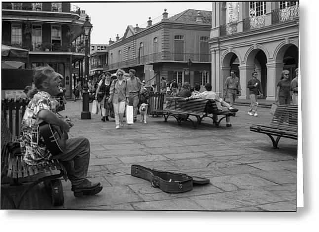 Passionate Performance On St. Charles Greeting Card by J Michael Whitaker
