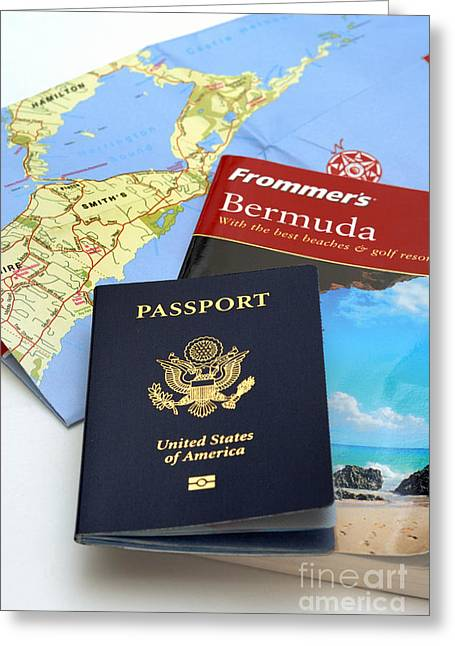 Passport Frommers Travel Guide And Map Greeting Card by Amy Cicconi