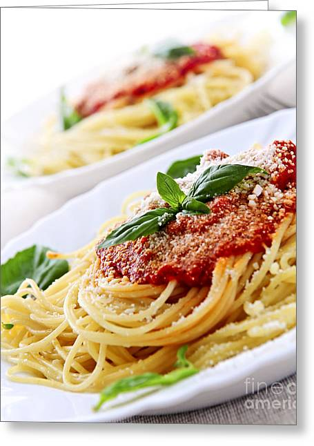 Pasta And Tomato Sauce Greeting Card