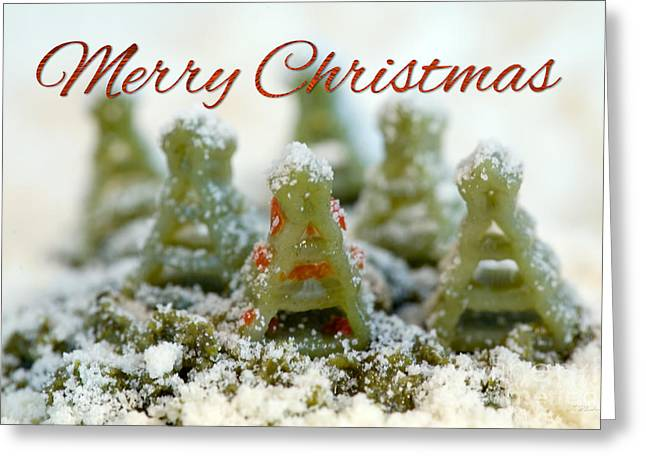Pasta Christmas Trees With Text Greeting Card by Iris Richardson