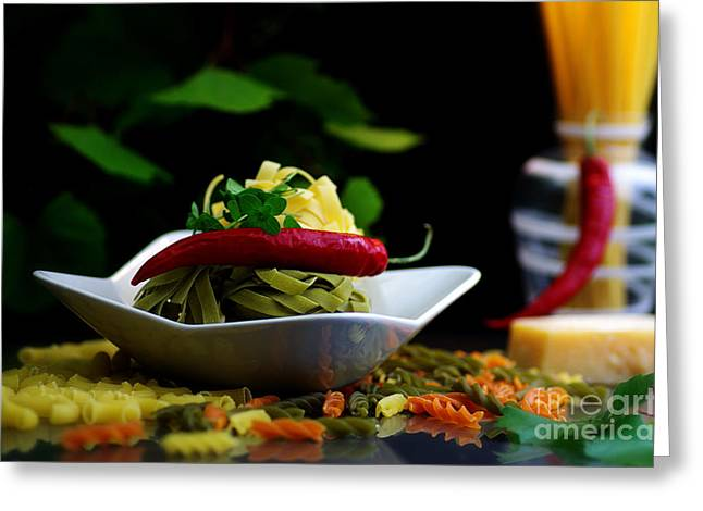 Pasta Italian Still Life For The Kitchen Greeting Card by Tanja Riedel