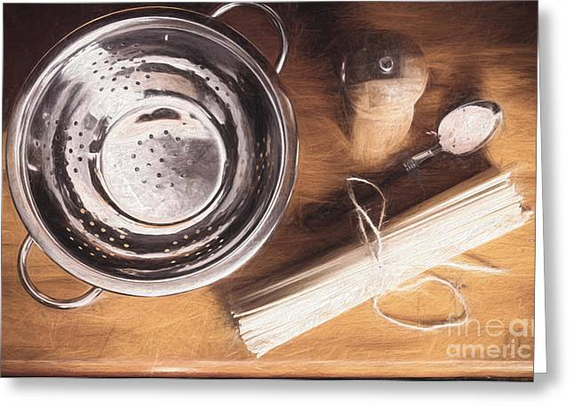 Pasta Preparation. Vintage Photo Sketch Greeting Card by Jorgo Photography - Wall Art Gallery
