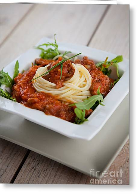Pasta With Sauce Greeting Card by Mythja  Photography