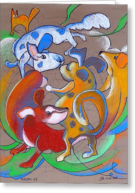 Pastel 69 - Dog Play Greeting Card by Steve Emery