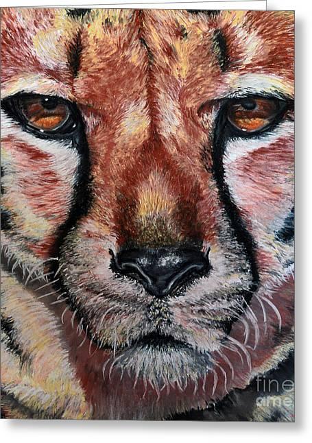 Pastel Cheetah Greeting Card by Ann Marie Chaffin