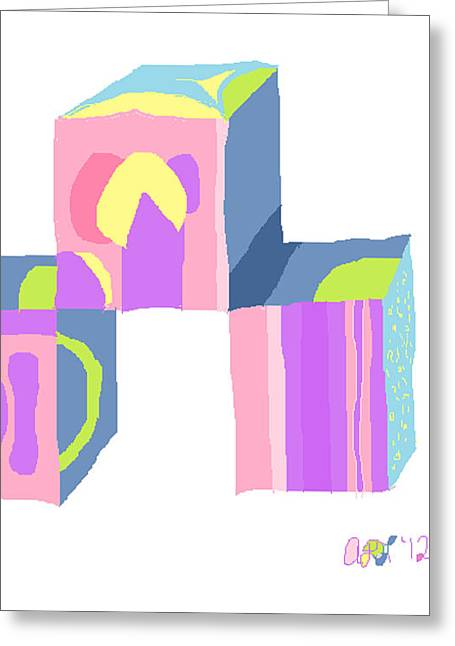 Greeting Card featuring the painting Pastel Cubes by Anita Dale Livaditis