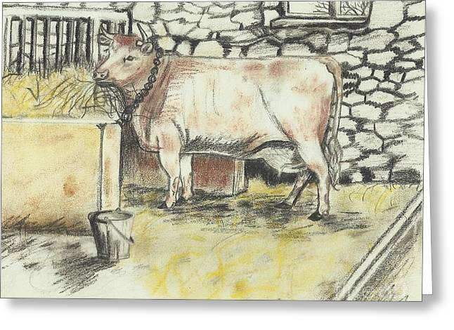Cow In A Barn Greeting Card