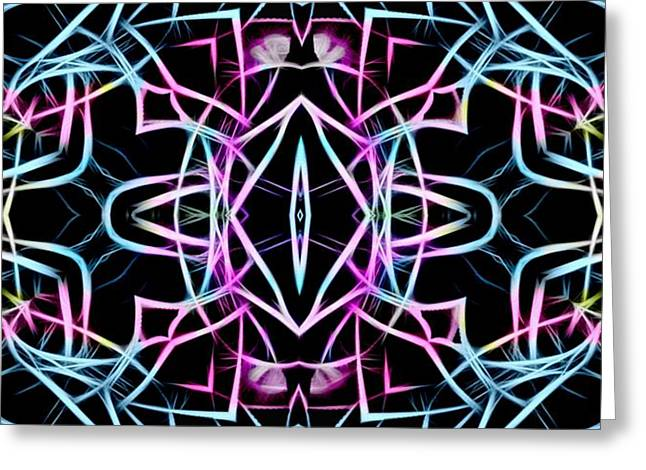 Pastel Kaleidoscope On Black  Greeting Card by Gina Lee Manley