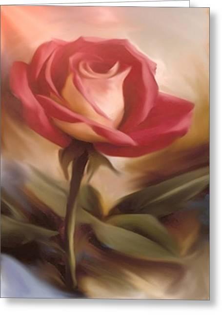 Pastel Light Red Rose Greeting Card