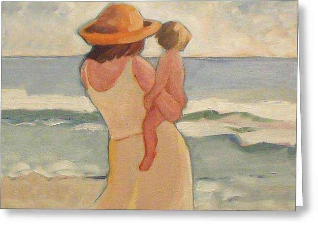 Pastel Morning Beach Pastel Morning Mother And Baby Greeting Card