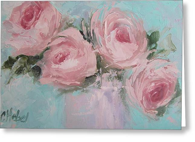 Pastel Pink Roses Painting Greeting Card