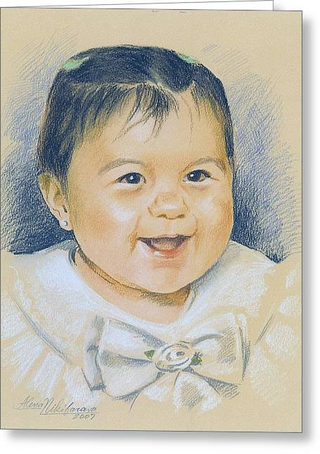 Pastel Portrait Of A Girl In A White Dress. Commission. Greeting Card