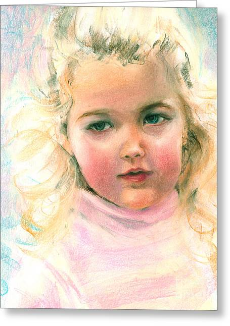 Pastel Portrait Of An Angelic Girl Greeting Card