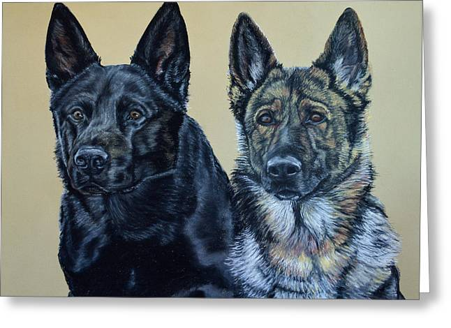 Pastel Portrait Of Two German Shepherds Greeting Card by Ann Marie Chaffin