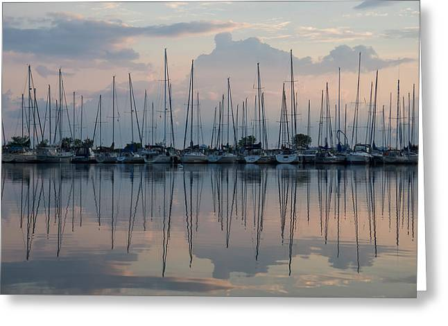 Pastel Sailboats Reflections At Dusk Greeting Card by Georgia Mizuleva