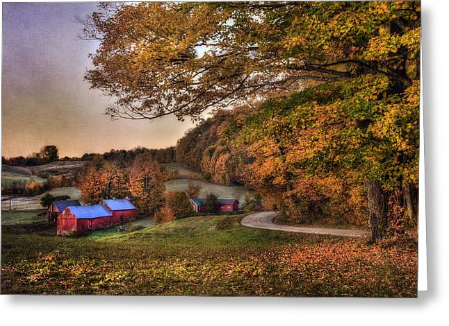 Pastel Sunrise On Jenne Farm - Vermont Greeting Card by Joann Vitali