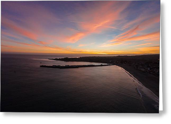 Pastel Sunset Above Santa Cruz Wharf Greeting Card by David Levy