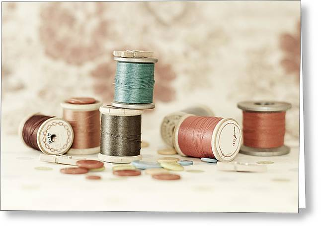 Pastel Threads And Buttons Greeting Card by Sofia Walker