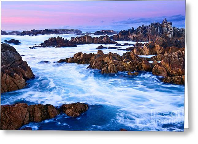 Pastel Tides - Rocky Asilomar Beach In Monterey Bay At Sunset. Greeting Card