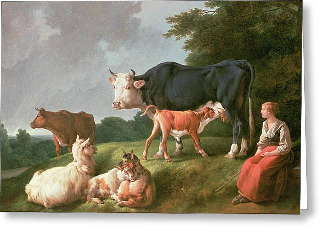 Pastoral Scene Oil On Canvas Greeting Card by Jean-Baptiste Huet