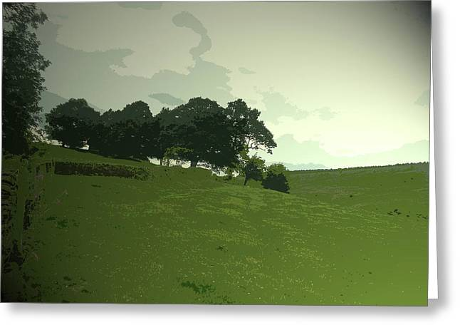 Pasture At Edale End, Looking Across Jaggers Clough Towards Greeting Card