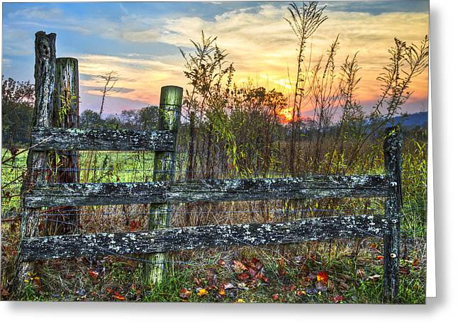 Pasture Fence Greeting Card by Debra and Dave Vanderlaan