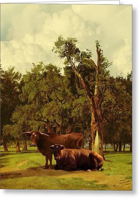 Pastureland Greeting Card by IM Spadecaller