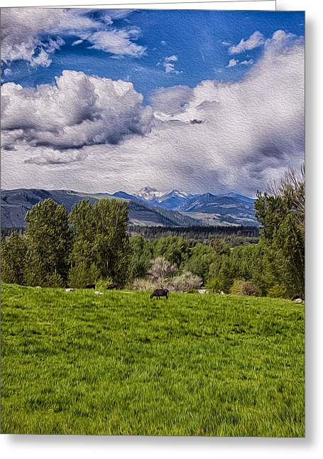 Pastures And Clouds  Greeting Card by Omaste Witkowski
