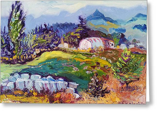 Pastures Landscape Oil Painting Greeting Card