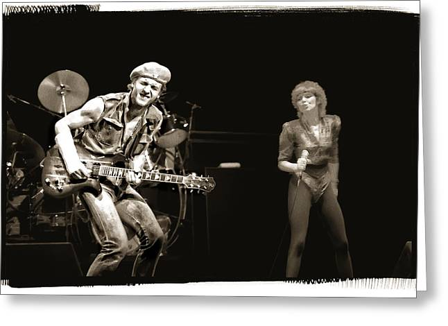 Pat Benatar In Concert Bw Greeting Card by Joe Myeress