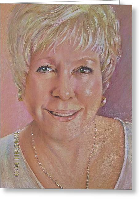 Greeting Card featuring the painting Pat Self Portrait by Patricia Schneider Mitchell