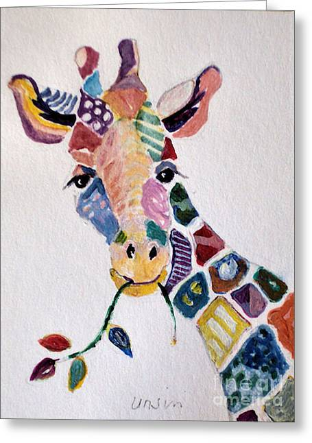 Patchwork Giraffe Greeting Card