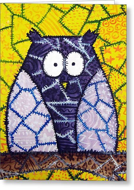 Patchwork Owl - Purple Greeting Card