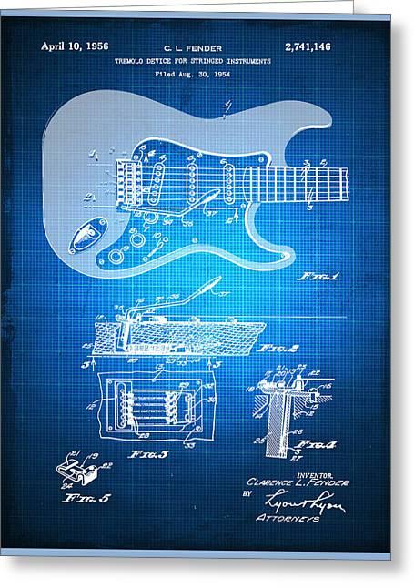 Fender Guitar Patent Blueprint Drawing Greeting Card by Tony Rubino