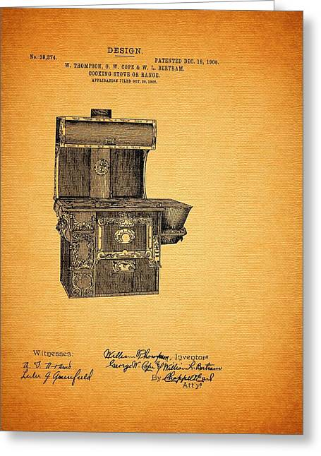Patent And Design For Cooking Stove Or Range 1906 Greeting Card by Mountain Dreams