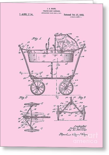 Patent Art Baby Carriage 1922 Mahr Design Pink Greeting Card