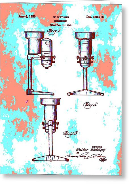 Patent Art Blender Greeting Card by Dan Sproul