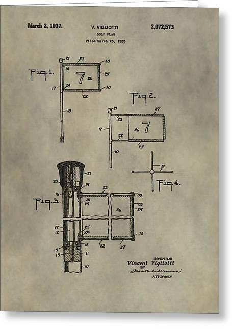 Patent Art Golf Flag Greeting Card