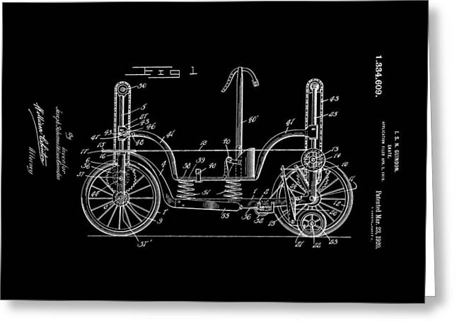 Patent Art Guindon 1920 Roller Skates Bw Greeting Card