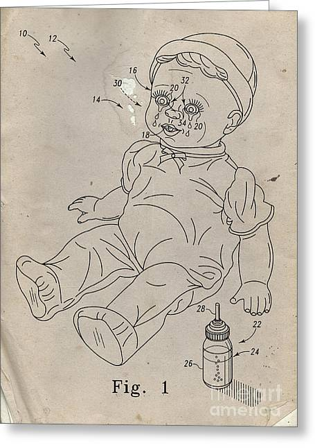 Patent For Crying Baby Doll Greeting Card by Edward Fielding