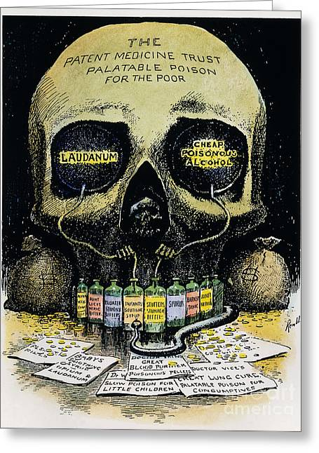 Patent Medicine Cartoon Greeting Card by Granger