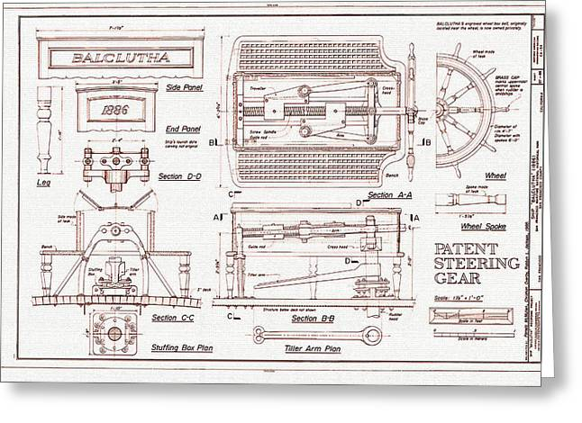 Patent Steering Gear Greeting Card by Mountain Dreams