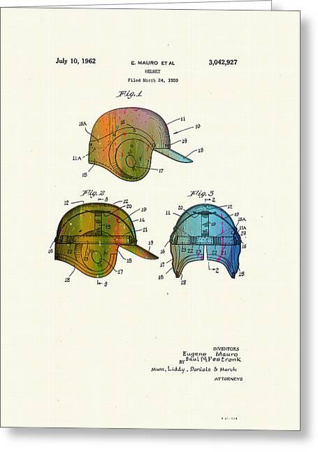 Patented Drawing Of A Baseball Helmet - 1959 Greeting Card by Marlene Watson