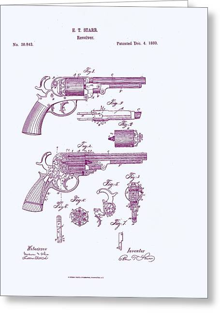Patented Revolver In Purple Greeting Card