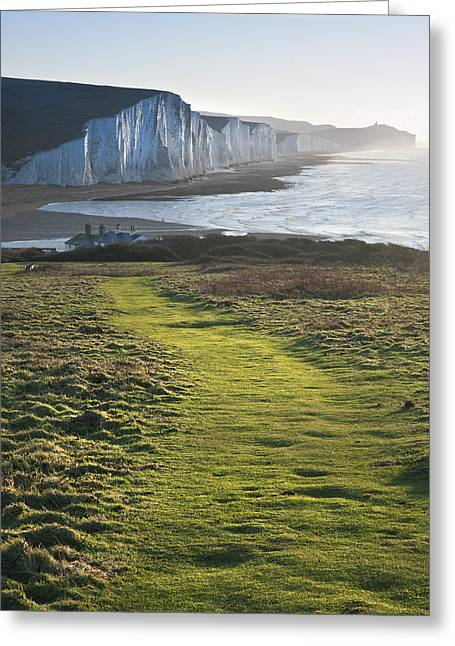 Path Along Seaford Head Towards Seven Sisters Greeting Card by Matthew Gibson